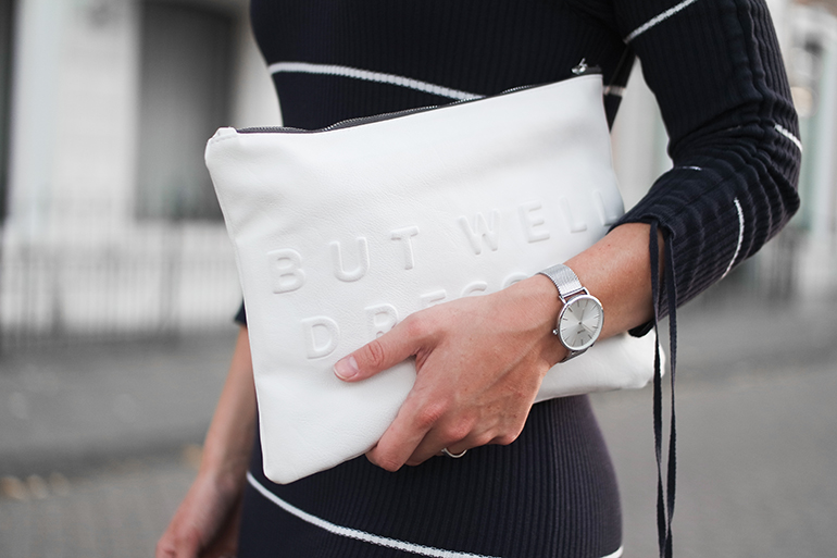 RED REIDING HOOD: Fashion blogger wearing white Zara clutch stressed but well dressed outfit details