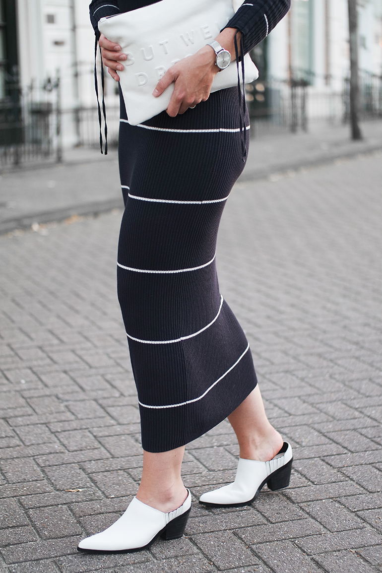 RED REIDING HOOD: Fashion blogger wearing rib knit stripe midi dress Mango outfit details warehouse mules ASOS