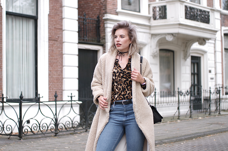 RED REIDING HOOD: Fashion blogger wearing teddy coat monki fluffy coat outfit asos farleigh jeans leopard blouse