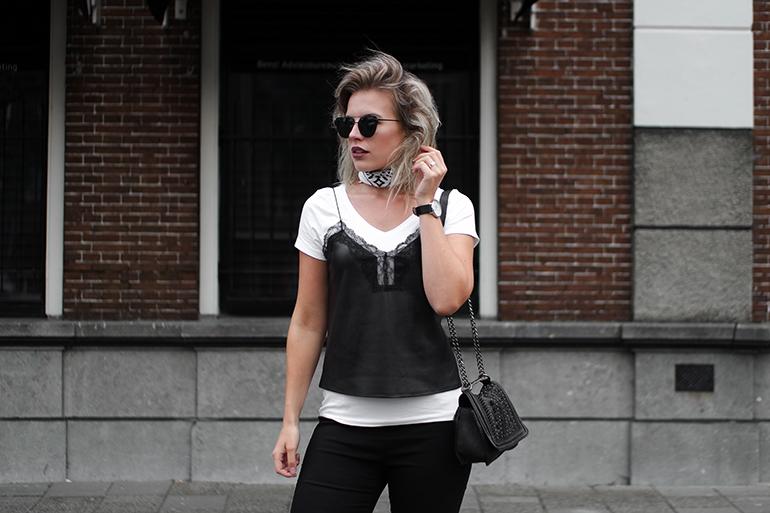 RED REIDING HOOD: Fashion blogger wearing leather lace cami top zara bag outfit bandana choker