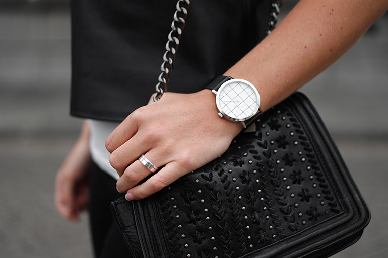 RED REIDING HOOD: Fashion blogger wearing Christian Paul Elwood Grid watch outfit details zara bag