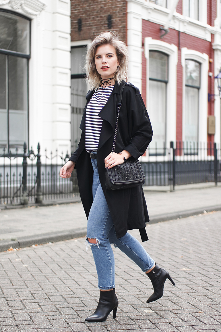 RED REIDING HOOD: Fashion blogger wearing Mango trench coat outfit striped top