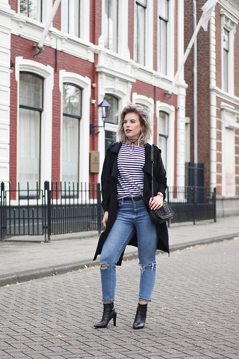 RED REIDING HOOD: Fashion blogger wearing ASOS Farleigh jeans outfit striped top Mango trench coat