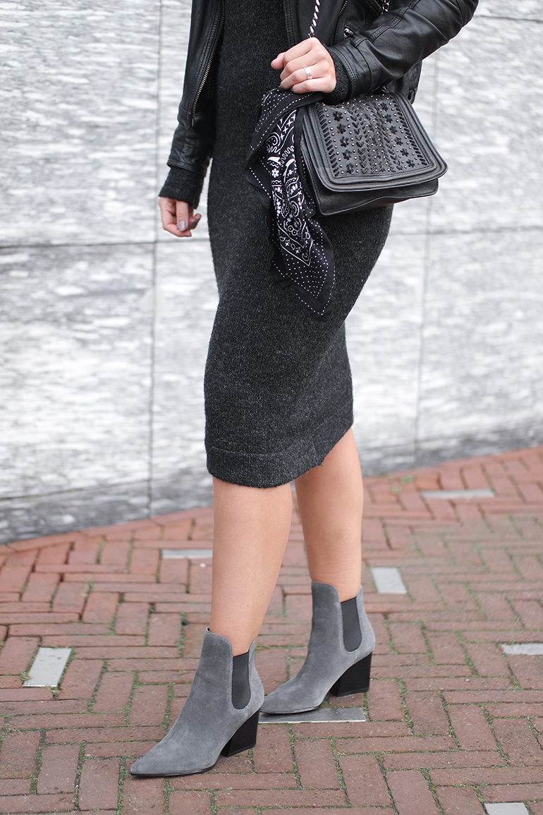 RED REIDING HOOD: Fashion blogger wearing Kendall + Kylie Finley ankle boots outfit details midi knit dress
