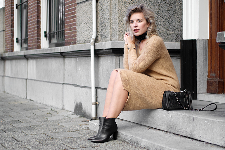RED REIDING HOOD: Fashion blogger wearing mohair knit dress outfit ankle boots quilted cross body bag