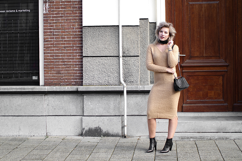 RED REIDING HOOD: Fashion blogger wearing ASOS mohair dress outfit knit dress