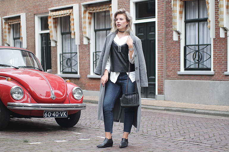 RED REIDING HOOD: Fashion blogger wearing ASOS farleigh jeans outfit leather lace cami top layering