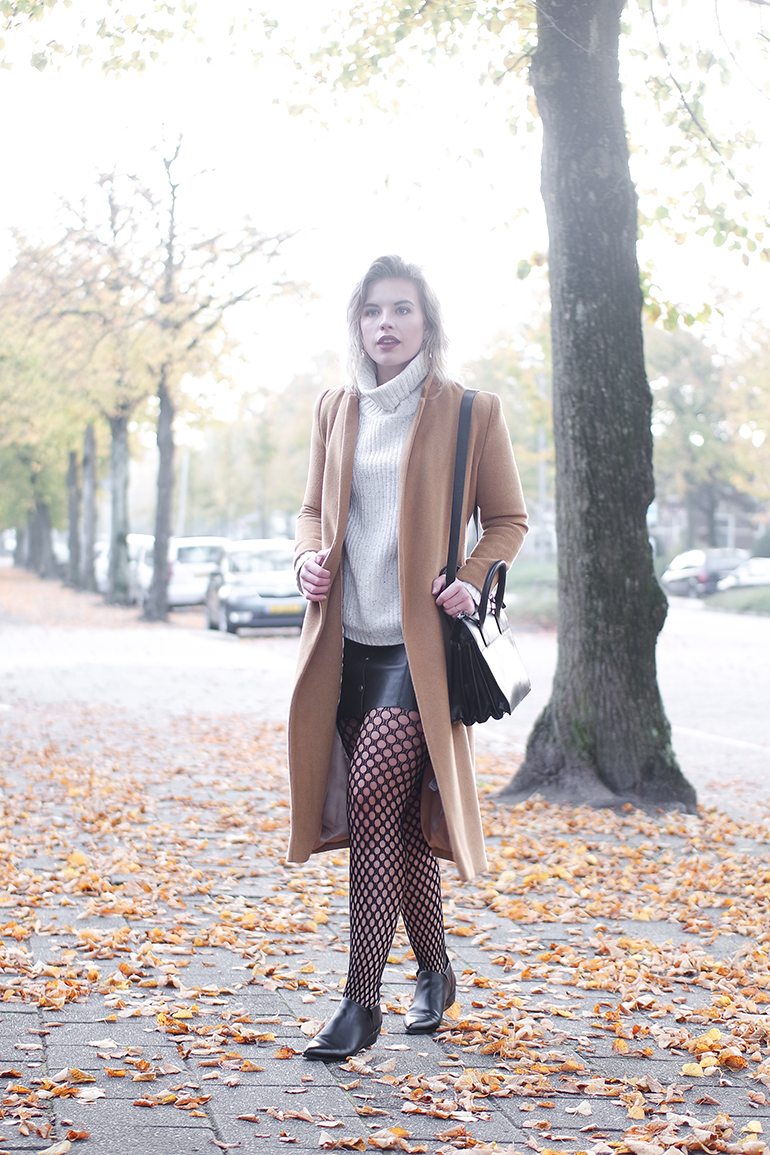 RED REIDING HOOD: Fashion blogger wearing long camel coat Topshop outfit fishnet tights River Island