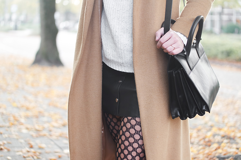 RED REIDING HOOD: Fashion blogger wearing fishnet tights leather skirt camel coat & other stories bag