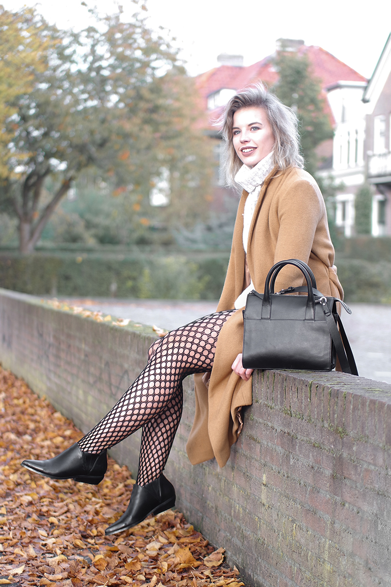 RED REIDING HOOD: Fashion blogger wearing fishnet tights River Island camel coat Topshop fall outfit