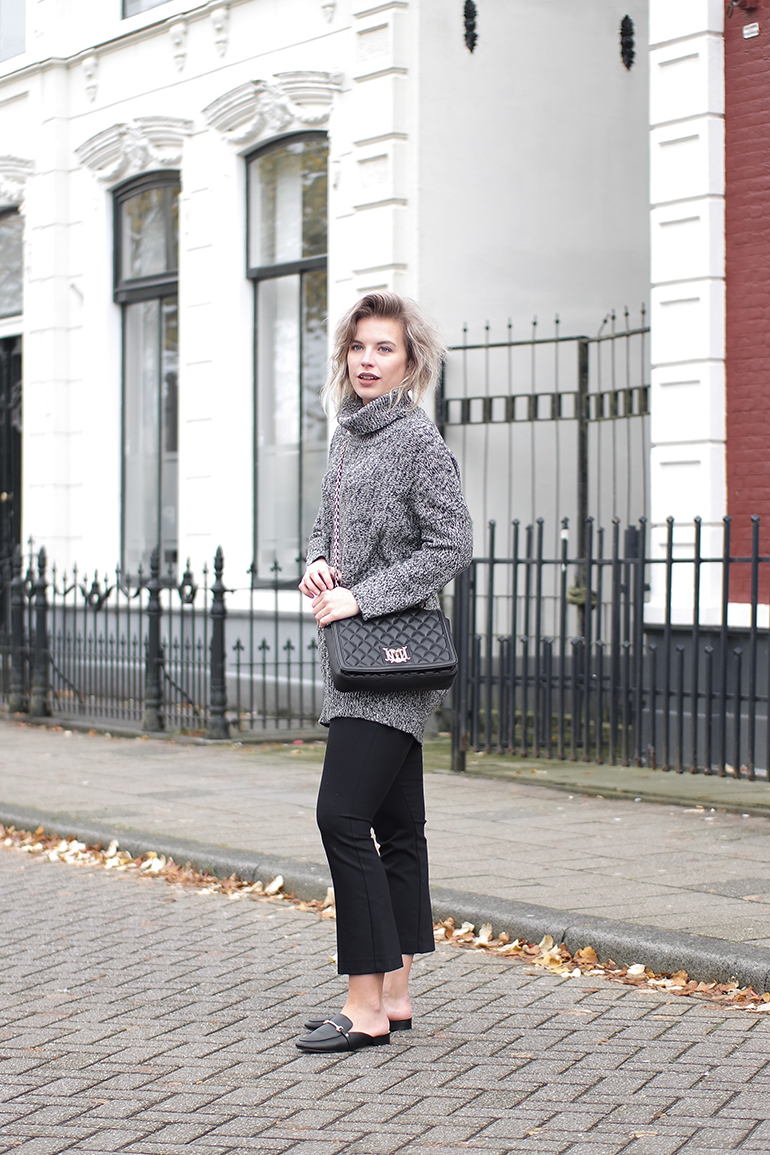 RED REIDING HOOD: Fashion blogger wearing backless loafers River Island flared cropped pants turtleneck