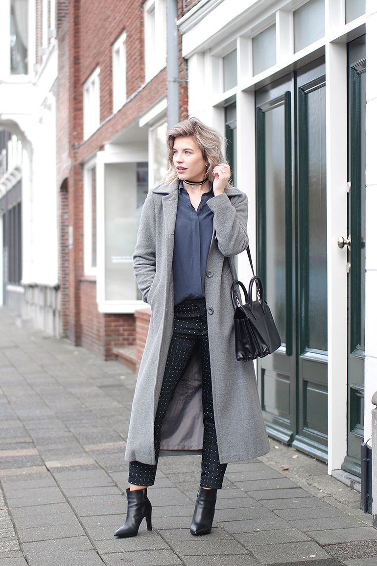 RED REIDING HOOD: Fashion blogger wearing long grey coat pyjama trend bag & Other Stories silk shirt