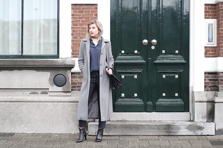 RED REIDING HOOD: Fashion blogger wearing & Other Stories silk shirt long grey coat