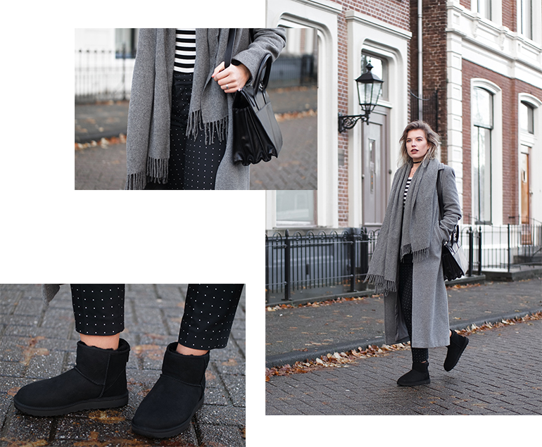 RED REIDING HOOD: Fashion blogger wearing UGG classic II mini boots outfit long grey coat