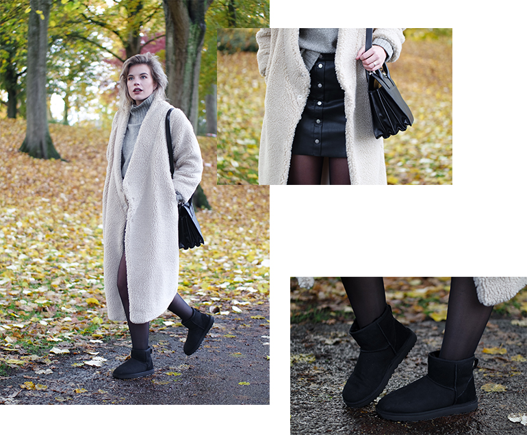 RED REIDING HOOD: Fashion blogger wearing teddy coat UGG mini boots classic II