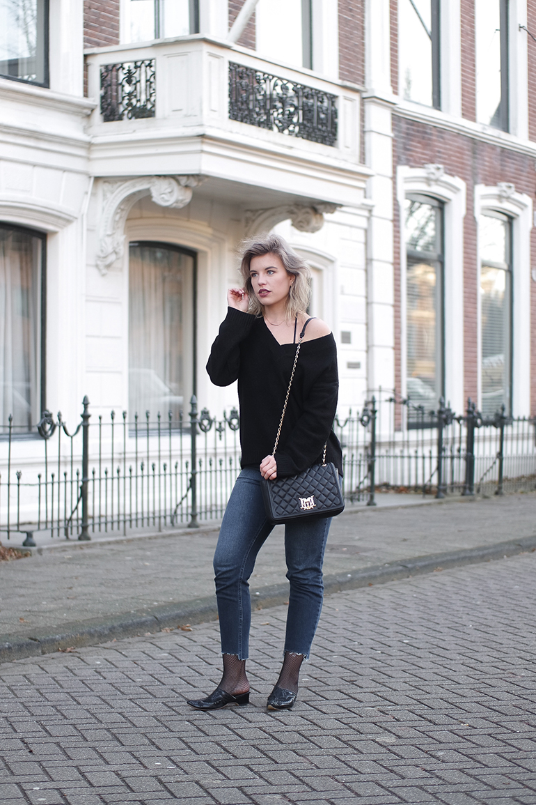 RED REIDING HOOD: Fashion blogger wearing fishnet tights stepped hem jeans loafers outfit
