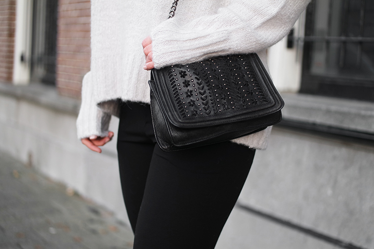 RED REIDNG HOOD: Fashion blogger wearing Zara chain cross body bag chanel boy bag replica outfit