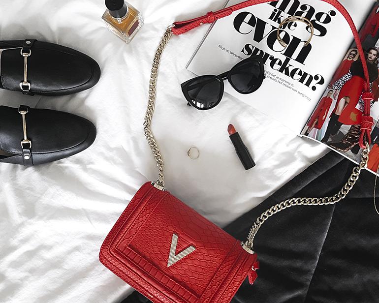 RED REIDING HOOD: Fashion blogger wearing red Valentino cross body bag Duifhuizen