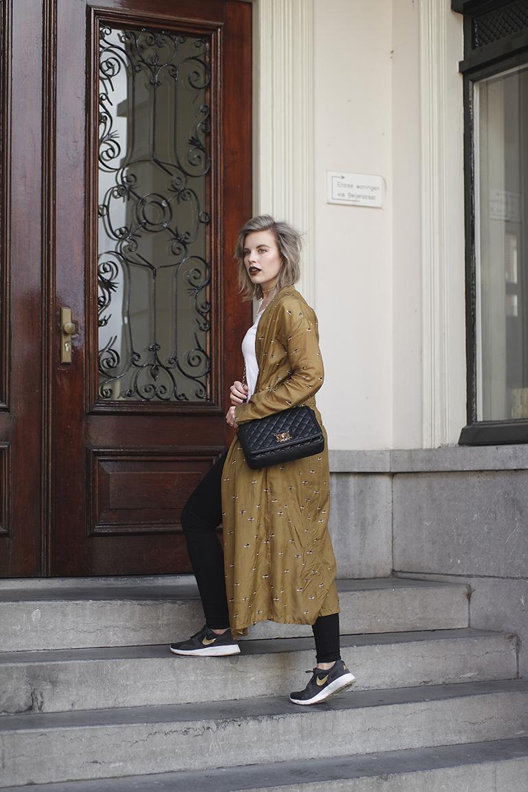 RED REIDING HOOD: Fashion blogger wearing long kimono Sissy-Boy love moschino bag outfit Nike sneakers
