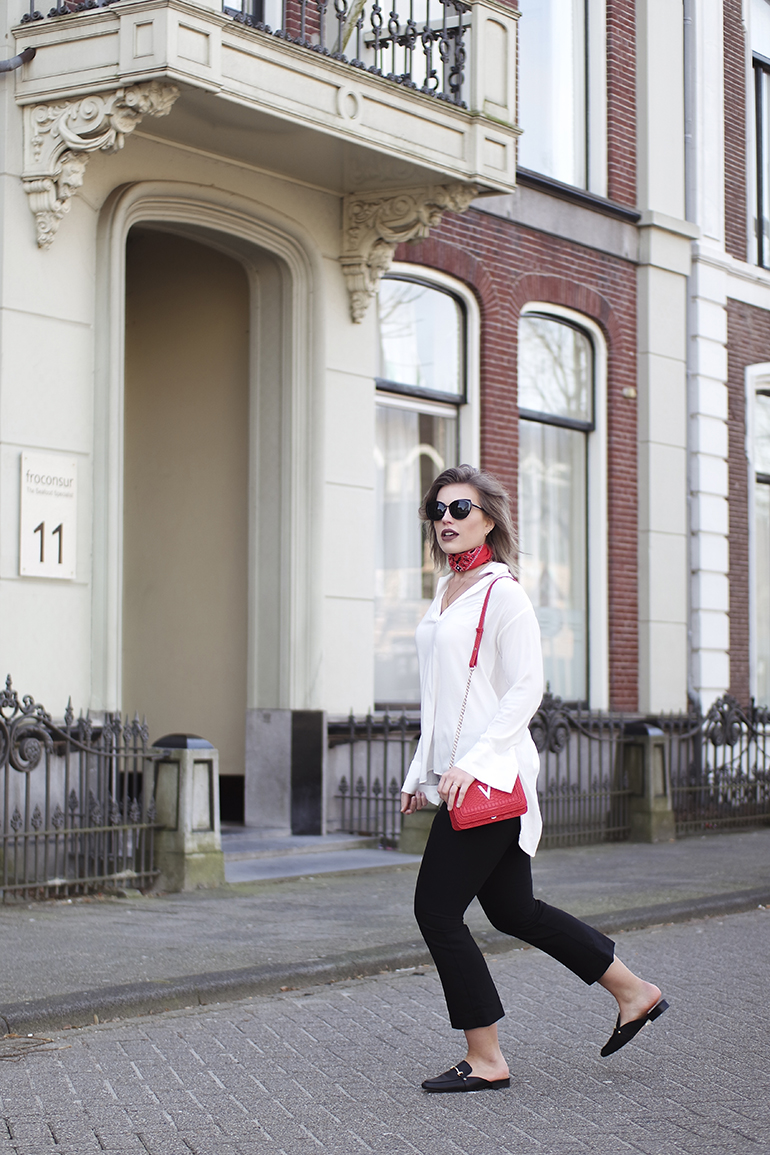 RED REIDING HOOD: Fashion blogger wearing red bandana choker trend wide leg pants backless loafers
