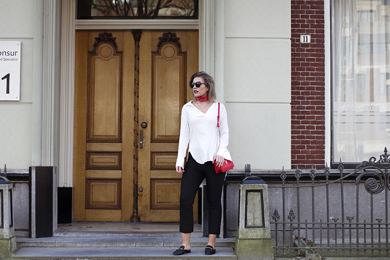 RED REIDING HOOD: Fashion blogger wearing kick flare trousers red bandana bag Valentino outfit
