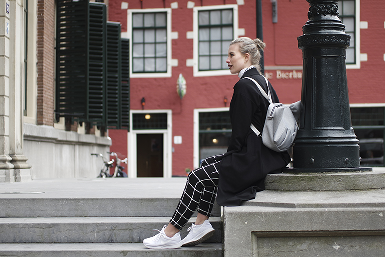 RED REIDING HOOD: Fashion blogger wearing grid check trousers Costes chinchilla Oribagu backpack