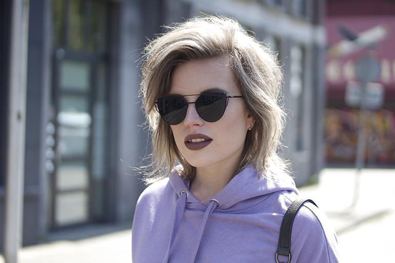 RED REIDING HOOD: Fashion blogger wearing double bridge sunnies Dior sunglasses lilac hoodie